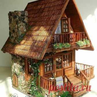 Восхитительный игрушечный домик ручной работы Браво мастеру!