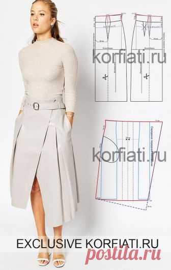 Выкройка расклешенной юбки от Анастасии Корфиати Выкройка расклешенной юбки. Геометричная и очень нестандартная расклешенная юбка со складками не только хит сезона – она может стать хитом вашего гардероба.