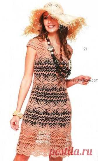 Летнее платье Летнее платье крючком. Платье крючком с красивым узором Вам понадобится 500г пряжи (330м/50г); крючки № 2 и 1.5.