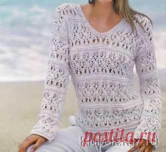 ажурный пуловер спицами схема узора Klubokkg7ru вязание