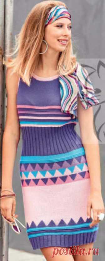 Женское платье с жаккардовыми узорами (1 часть) Женское платье с жаккардовыми узорами, вязаное спицами (1 часть)