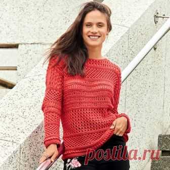 Креативное вязание: красный джемпер с фантазийным сочетанием узоров!