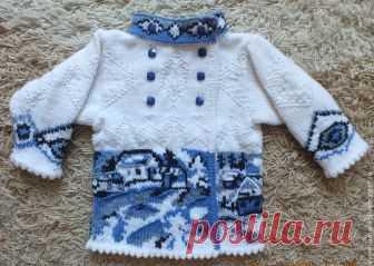 f9390440086 жакет куртка Зимушка гжель теплый вязаный детский для девочки – купить в  интернет-магазине на
