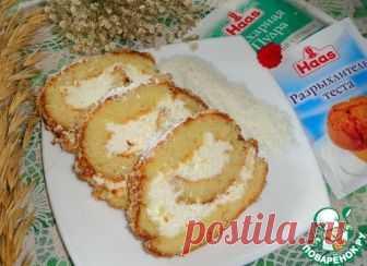 Рулет с творожно-кокосовым кремом - кулинарный рецепт