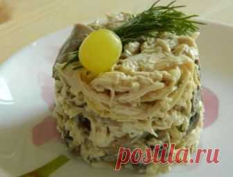 Грибной салат с курицей — Объедение!