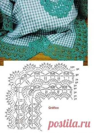 Красивая кайма для салфетки или скатерти. Схема