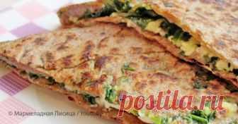 Рецепт вкуснейшей лепешки со шпинатом и сыром Из бездрожжевого теста!