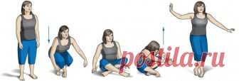 Тест на долголетие: несколько движений покажут, насколько молодо ваше тело.  Всё просто! Нужно сесть и встать, как показано на картинке:...
