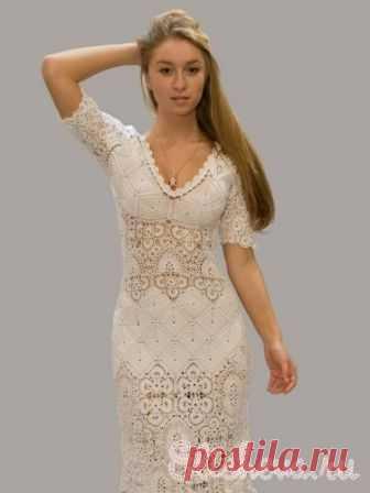 Вечернее платье цвета топленого молока вязаное крючком