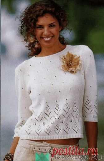 Пуловер с рукавами три четверти  Размеры 36/38 (40/42) 44/46 Вам потребуется: — 450 (500) 550г пряжи цвета экрю Baumwoll — Cablee (100% хлопок 150м/50г)