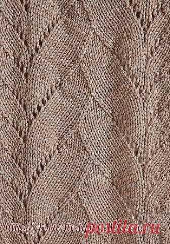 Узор «Наложенные листья» ( УЗОРЫ СПИЦАМИ) Оригинальный, не избитый и новый узор «Наложенные друг на друга листья», связанный спицами. Такой узор можно комбинировать друг с другом, как это показано на вязаном снуде, широкие листья…