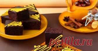 Шоколадово брауни с тиква и фурми