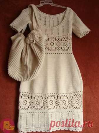 Вязаные платье и сумка - бомбовский комплект — Сделай сам, идеи для творчества - DIY Ideas