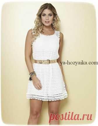 a304276767c Белое платье крючком от бразильского дизайнера. Филейное платье крючком  схемы