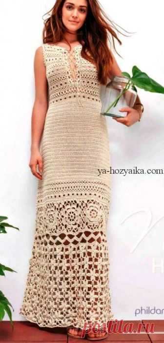длинное платье в пол крючком схемы вязаные вечерние платья крючком