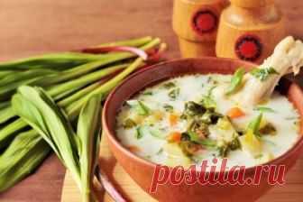 Ароматный чесночный суп из черемши