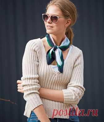 Пуловер с V-образным вырезом и разрезами - схема вязания спицами. Вяжем Пуловеры на Verena.ru