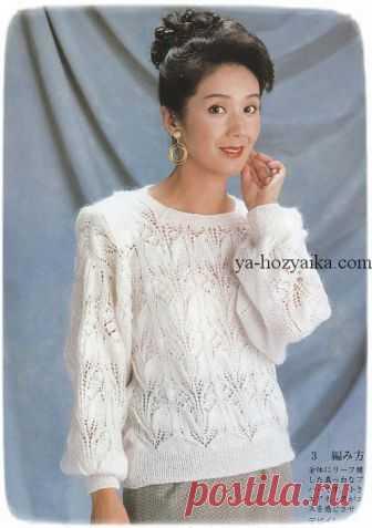 Нежный пуловер спицами из мохера. Вязание из японских журналов спицами. Нежный пуловер спицами. Вязание из японских журналов спицами.