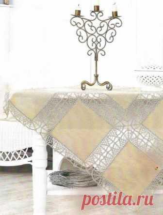 Скатерть - ткань+вязание.