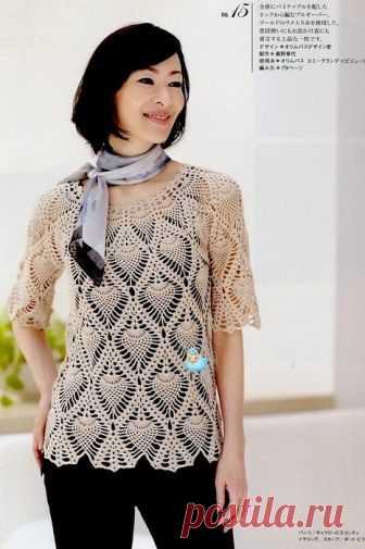 """Блузка узором """"Ананас"""" на круглой кокетке Замечательная летняя блузка связанная крючком узором """"Ананас"""" на круглой кокетке. Эта блузка придаст романтичности и женственности образу. Для того чтобы связать такую замечательную летнюю блузку потребуется 2"""