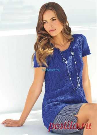 Удлиненный пуловер спицами женский - Хитсовет Удлиненный пуловер спицами женский. Модная модель женского удлиненного пуловера со схемой и бесплатным описанием вязания. Вам потребуется: 400 (450) г тёмно-синей (цв. 9) пряжи Lana Grossa CASHCOT (85% хлопка, 15% кашемира, 130 м/50 г); прямые спицы № 4,5; круговые спицы № 4 длиной 60 см.