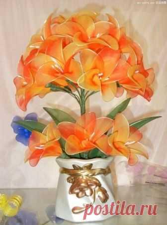 Цветы из капрона. | ШТОРЫ, ЛАМБРЕКЕНЫ, ДОМАШНИЙ ТЕКСТИЛЬ СВОИМИ РУКАМИ