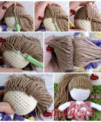 волосы для вязаной куклы мк игрушки крючком постила