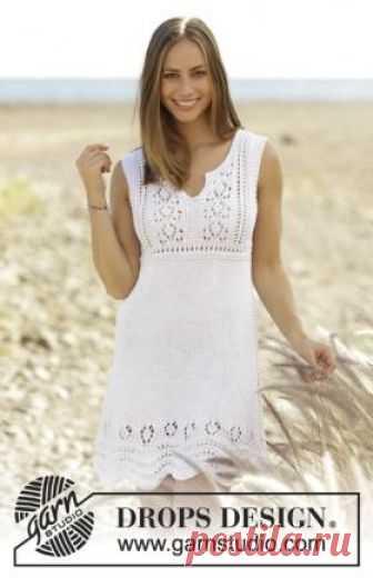 Платье Рибеира Симпатичное летнее платье спицами для женщин, связанное из белой хлопковой пряжи. Вязание модели начинается по кругу по приведенным в описании...