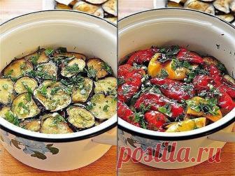 Закуска из маринованных баклажанов и перцев-гриль.
