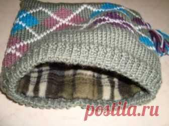 как пришить подклад к вязаной шапке изготовление выкройки подклада