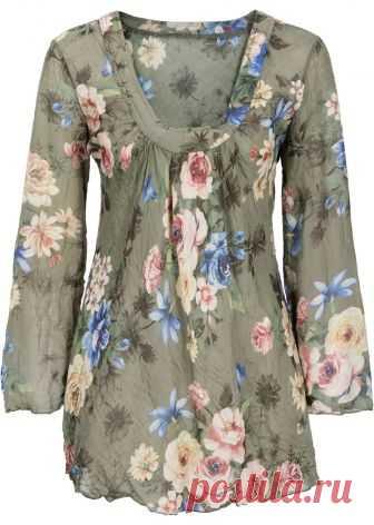 Посмотретьпрямо сейчас:  Красивая блузка непринужденного покроя из струящегося шелковистого материала. Длина ок. 73 см (разм. 38).
