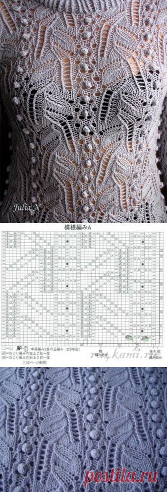 Ажурный узор спицами для свитера » Сайт