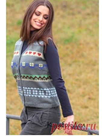 Жилет с жаккардовыми узорами. Вязание спицами для женщин, схемы узоров и описание вязания