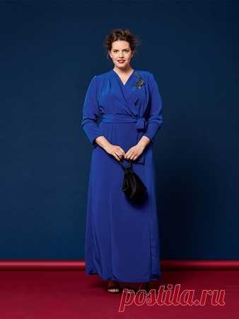 Длинное платье - выкройка № 406 B из журнала 2/2017 Burda. Мода для полных – выкройки платьев на Burdastyle.ru