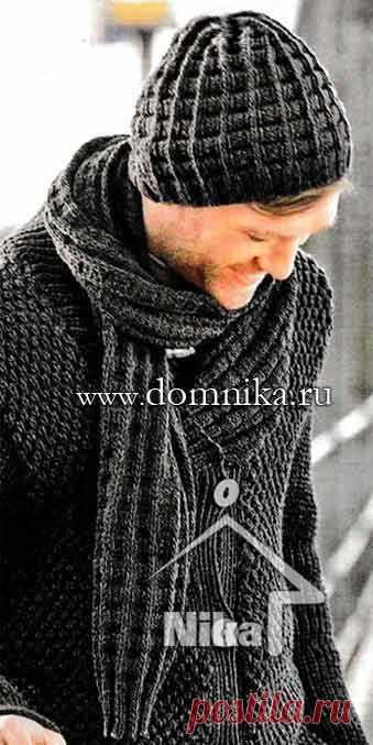 мужская шапка спицами мужской шарф схемы вязания вяжем для мужчин