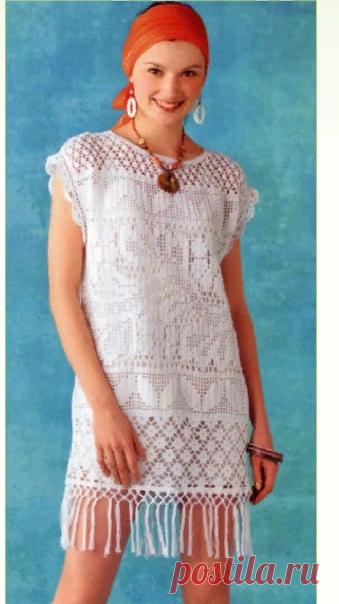 Вязание платья филейным узором 2019