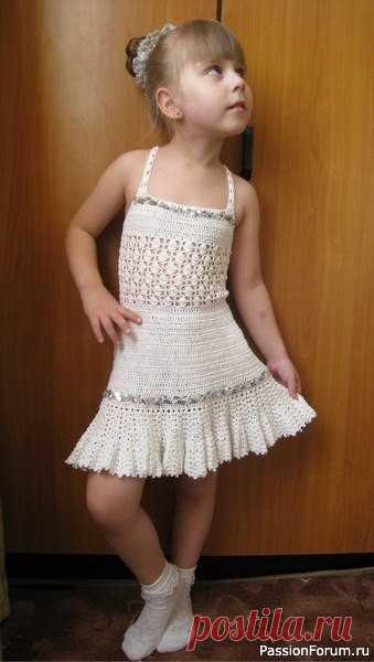 Сарафан на лето для девочки. Схемы | Детская одежда крючком. Схемы