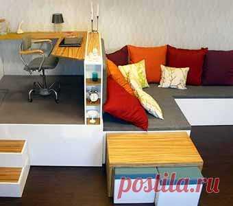 простая мебель-трансформер может решить проблемы маленькой комнаты (грамотное разделение на рабочую, спальную и зону для зарядки) -2