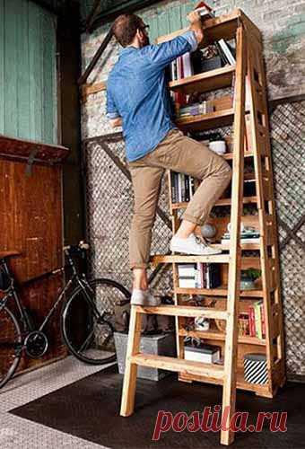 так используется лестница-стремянка с полками (для гаража, хранения всего и везде в складах)