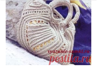 Летняя вязаная сумка с ажурным узором. Крючком. / vyazanie-sumki.ru