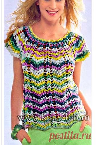 Разноцветная летняя кофточка крючком