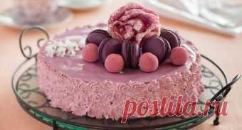 Бисквитный торт с йогуртово-черничным кремом - рецепт приготовления от Простоквашино