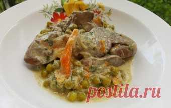 Куриная печень с горошком / Блюда из субпродуктов / TVCook: пошаговые рецепты с фото