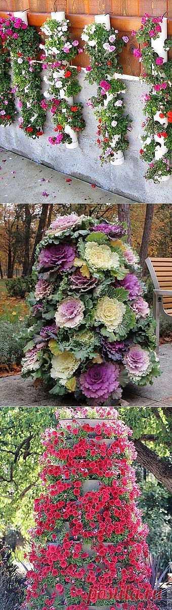 Цветочная башня,оформление балкона своими руками