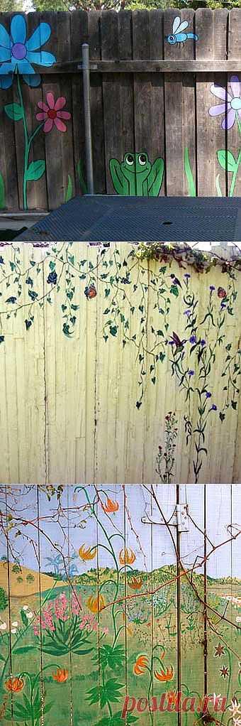Как необычно покрасить забор на даче: 22 веселых дачных забора.
