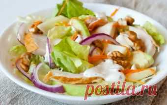 Салат с копченой курочкой и яблоком / Куриные салаты / TVCook: пошаговые рецепты c фото