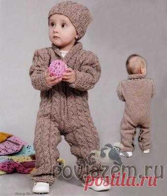вязаный комбинезон и шапочка спицами на 15 года вязание детям