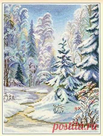Схема вышивки крестом зимний пейзаж иконы бисером схемы и.