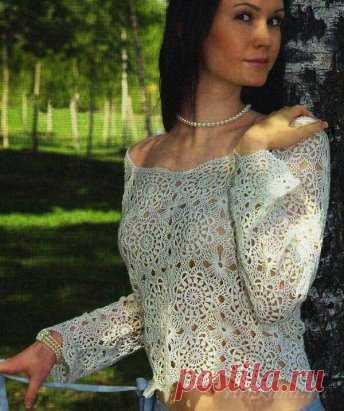 Ажурный пуловер из мотивов вязаный крючком схема по ссылке:      http://ru4kami.ru/vyazhem-odezhdu/860-vyazanyy-pulover-kryuchkom.html