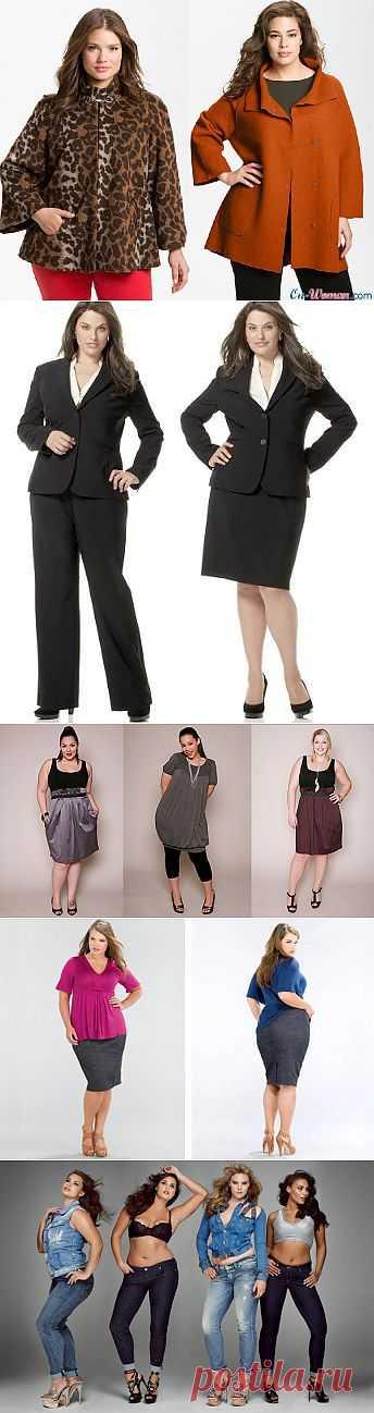 Мода для полных женщин 2013. Пальто, жакеты, джинсы, платья, юбки, костюмы.